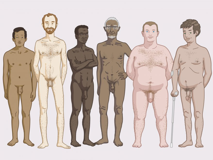 Different men's bodies: the body of each man looks different.