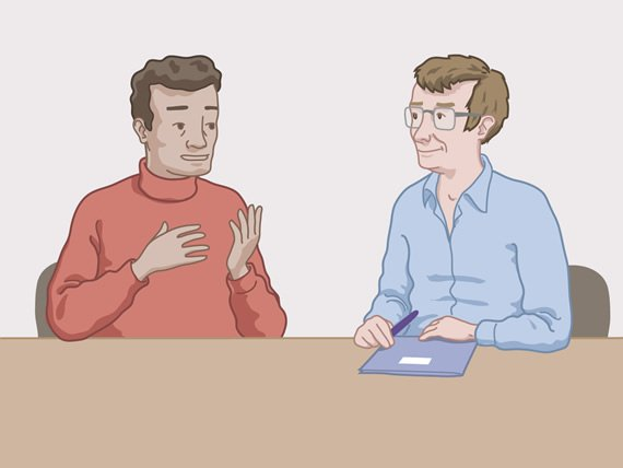 Man talking with a health professional