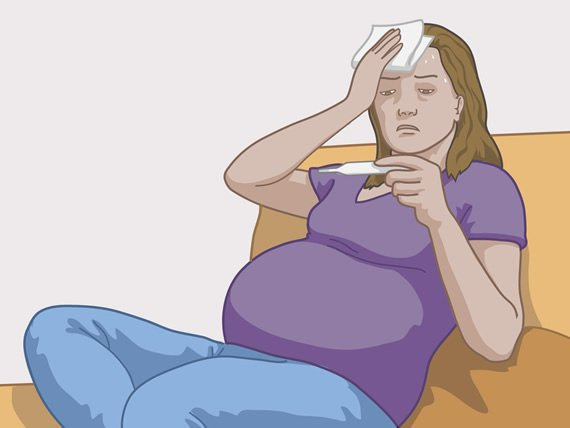 Pregnant woman having a fever